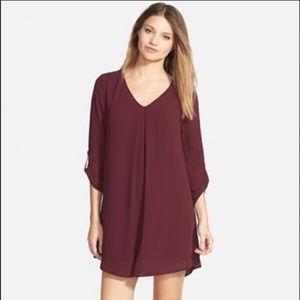Lush Maroon Long Sleeve Shift Dress